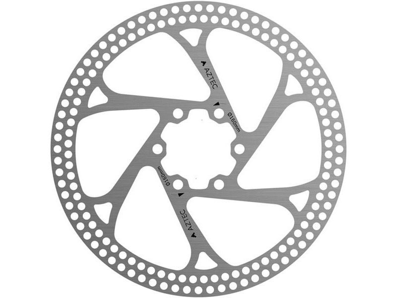 AZTEC Stainless steel fixed disc rotor with circular cut outs - Silver 203 mm click to zoom image
