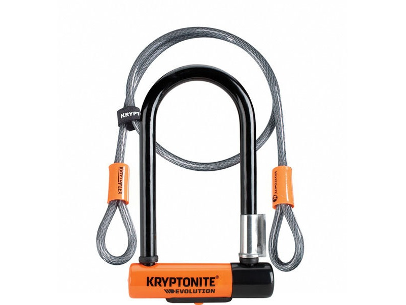 KRYPTONITE Evolution Mini 7 Dead Bolt Lock with 4ft Kryptoflex Cable with FlexFrame Bracket click to zoom image